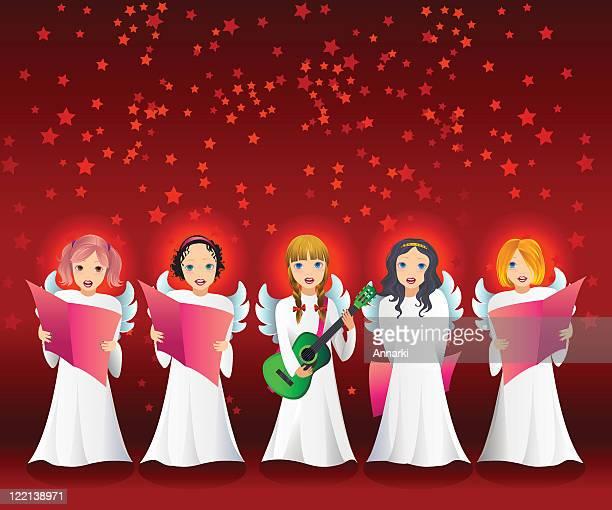 お子様用のクリスマスベクトルイラスト Caroling 歌