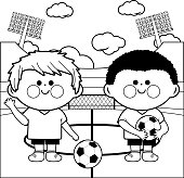 Children soccer players in a stadium coloring page