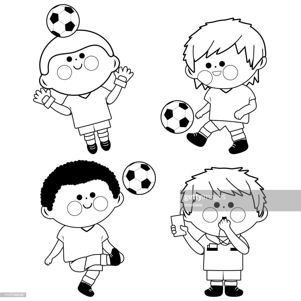 Children soccer players. Vector black and white coloring book page