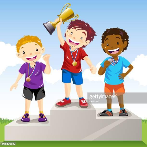 ilustrações de stock, clip art, desenhos animados e ícones de children standing on a winners podium - third place