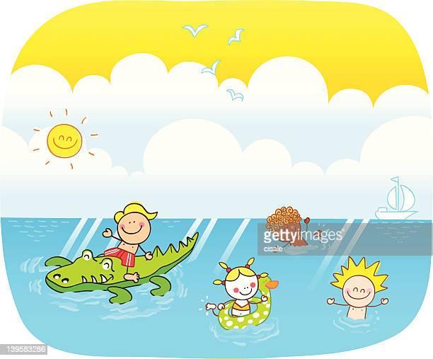 children swimming at sea cartoon illustration