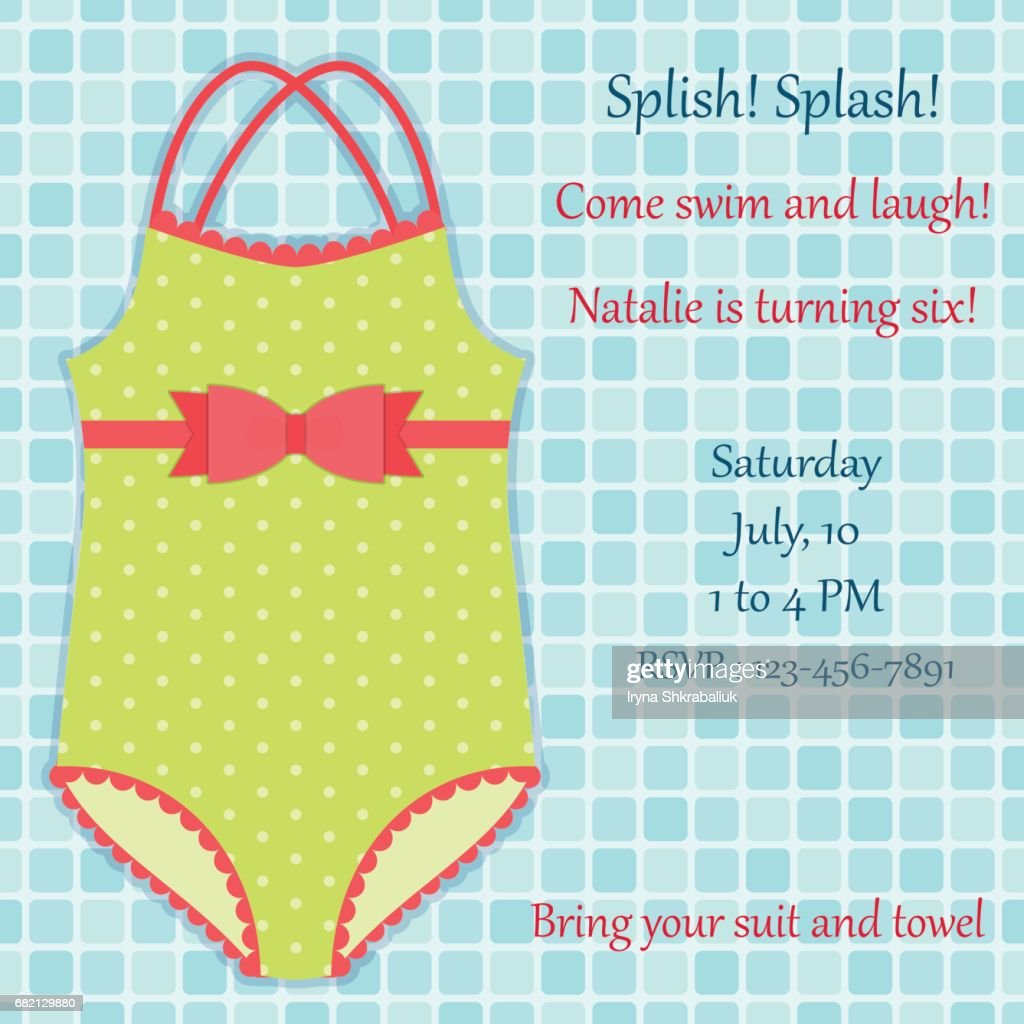 Children swimsuit on pool tiles background as pool party invitation