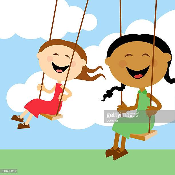 Children Swinging Together