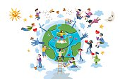 Children Take care of Planet Earth  White