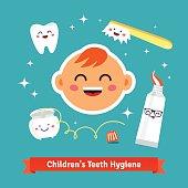 Children tooth hygiene icon set