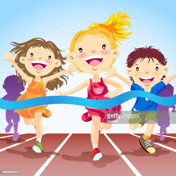 children track running competition - track event stock illustrations