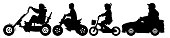 Children transport silhouette set vector. Child on a bicycle, teenager on a bike ride. The boy in the children's car
