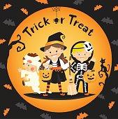 children trick or treat in halloween