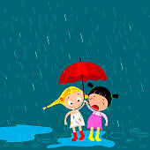 children under an umbrella in the rain