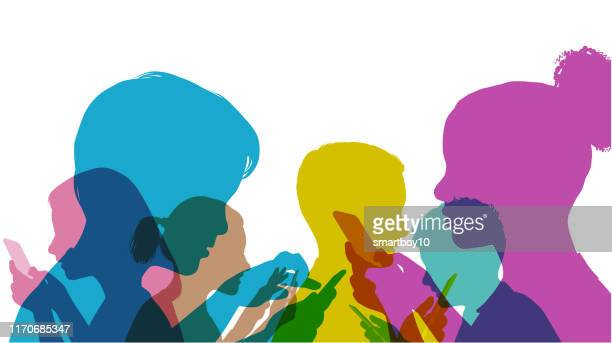 children using mobile phones - anti bullying symbols stock illustrations