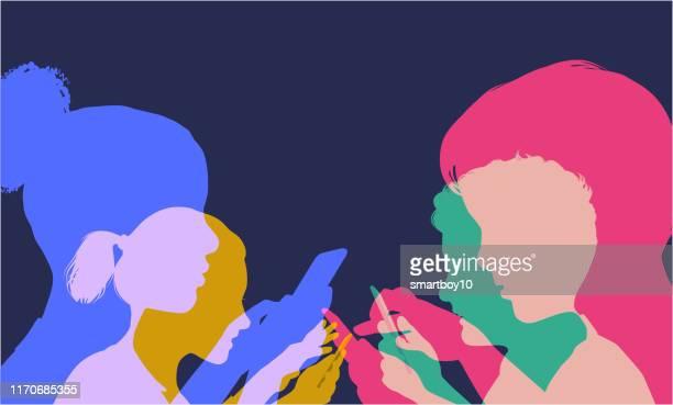 ilustrações de stock, clip art, desenhos animados e ícones de children using mobile phones - cyberbullying