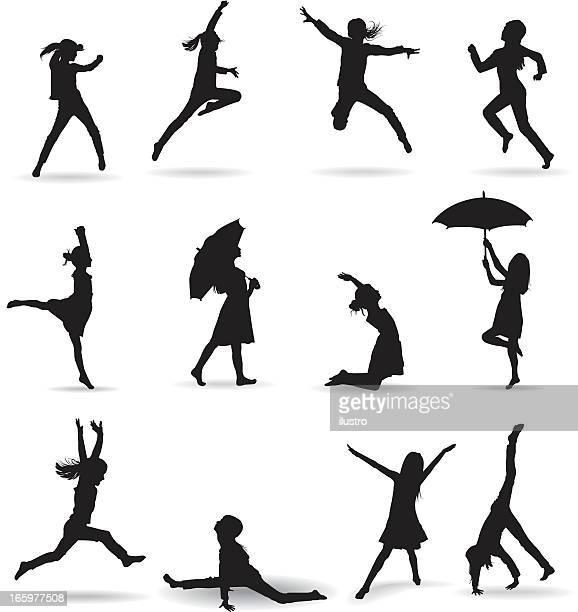 ilustraciones, imágenes clip art, dibujos animados e iconos de stock de los niños - salto de longitud