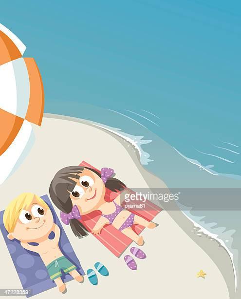 illustrations, cliparts, dessins animés et icônes de les enfants - bain de soleil