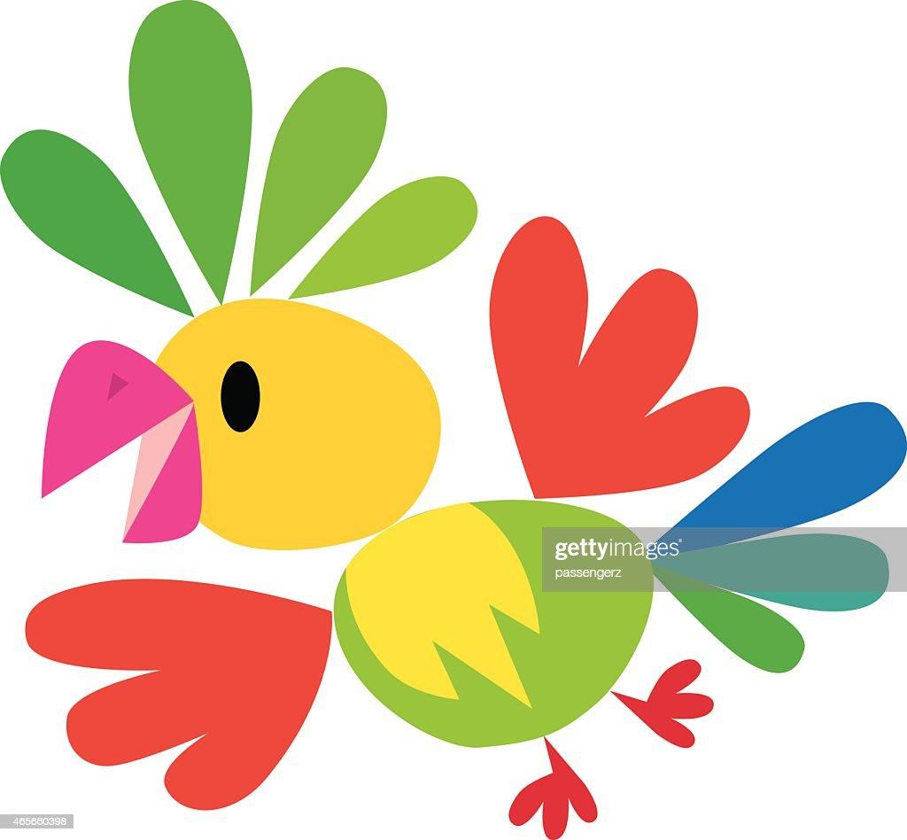 Children vector illustration of funny parrot
