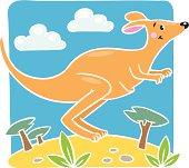 Children vector illustration of little kangaroo.