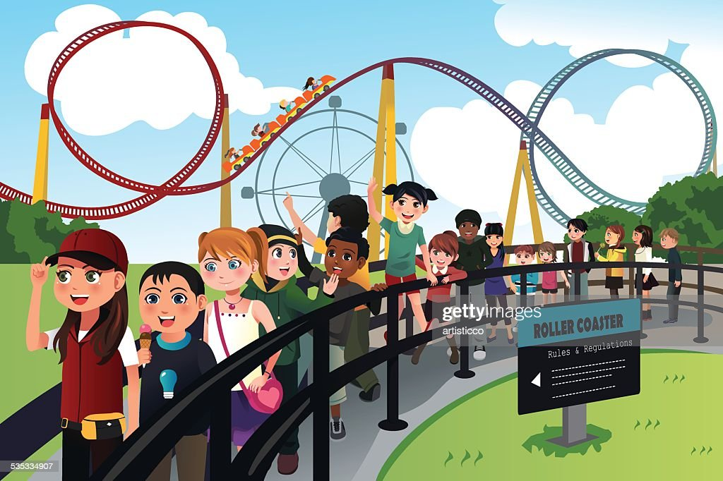 Children waiting in line for a roller coaster ride