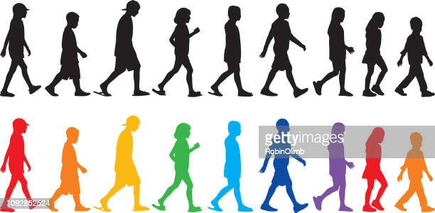 children walking silhouettes - multi colored hat stock illustrations