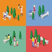 Children Walking with Parents. Family Isometric