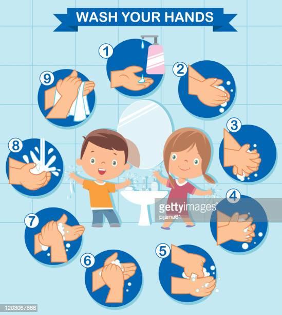 ilustraciones, imágenes clip art, dibujos animados e iconos de stock de niños que se lavan las manos - lavado de manos