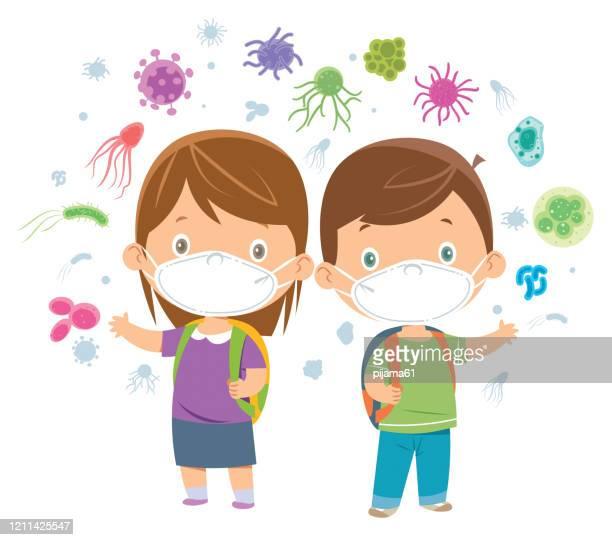 children wearing a mask - cartoon cancer stock illustrations