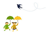 children wearing a raincoat. Illustration for the rainy season. Illustration of children and rain. Art of children with an umbrella.
