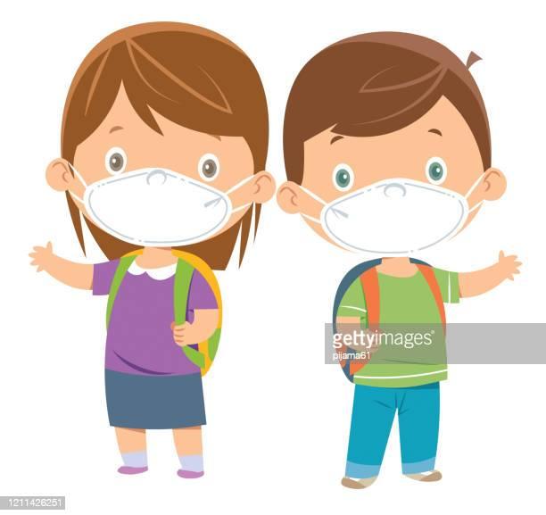 ilustrações, clipart, desenhos animados e ícones de crianças usando máscaras - female surgeon mask