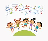 Children who are jumping and singing