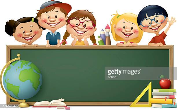 ilustraciones, imágenes clip art, dibujos animados e iconos de stock de children with blackboard - back to school - niños