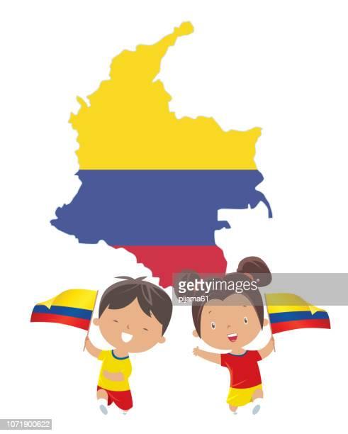 ilustraciones, imágenes clip art, dibujos animados e iconos de stock de niños con banderas de colombia - geografía física