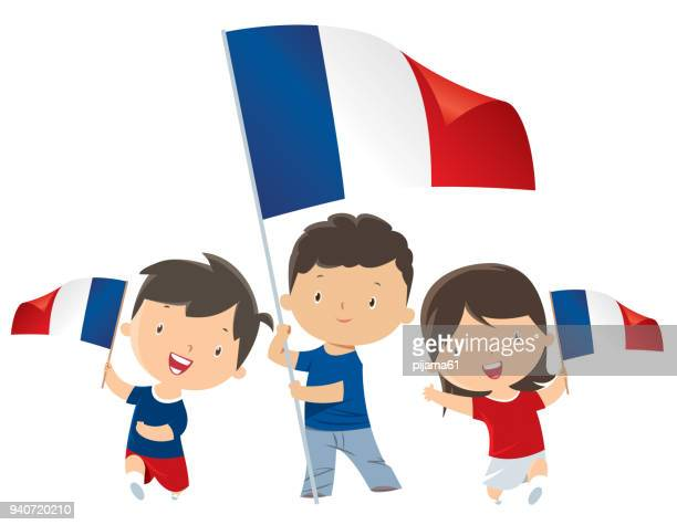 children with france flags - french culture stock illustrations