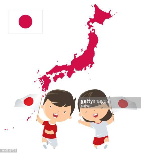 Kinder mit Japan Fahnen