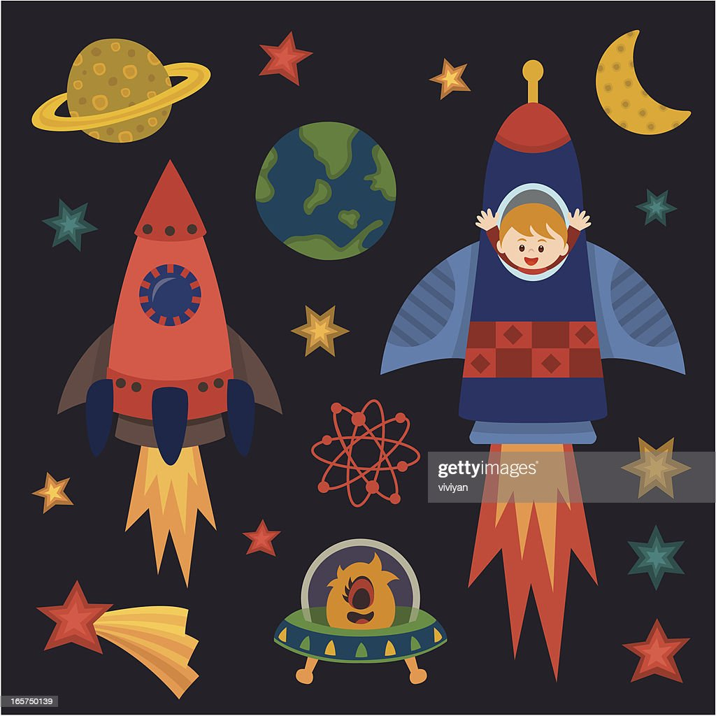 children with rocket in space : stock illustration