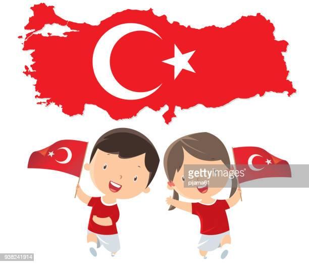 トルコのフラグを持つ子ども - 四月点のイラスト素材/クリップアート素材/マンガ素材/アイコン素材
