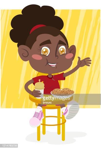 ilustraciones, imágenes clip art, dibujos animados e iconos de stock de niños con alimentos poco saludables - obesidad infantil