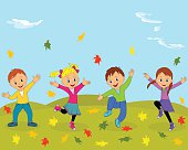children,boys and girl jumping and waving their hands