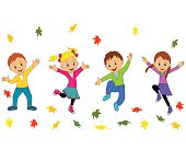 children,boys and girls jumping and waving their hands