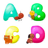 Children's alphabet with animals. The letters A B C D. Children's educational toy. Pre-school education. A poster in the nursery or classroom.