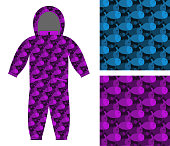 Childrens apparel template. Jumpsuit with pattern of fish. 3D ba