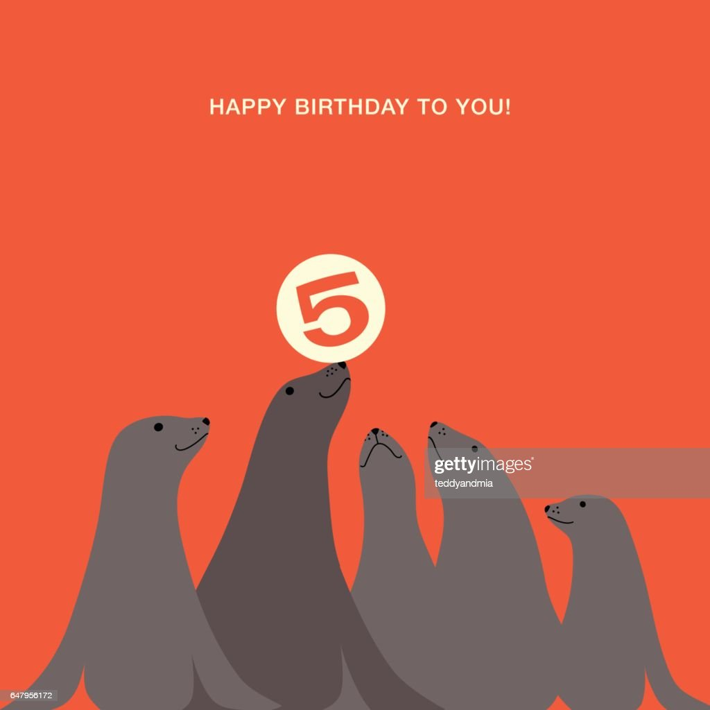 children's birthday card with sea lions balancing ball on nose