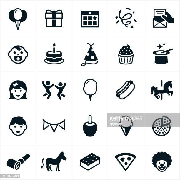 children's birthday party icons - birthday cake stock illustrations, clip art, cartoons, & icons
