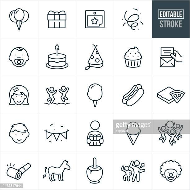 children's birthday party thin line icons - ediatable stroke - frozen food stock illustrations