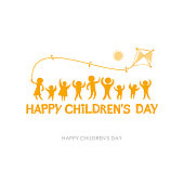 Children's Day 2019. Yellow orange sunny flat design of social logo. Silhouettes of joyful playing kids illustration to the Happy Children's Day.