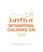 Children's Day 2019. Yellow orange sunny flat design of social logo.