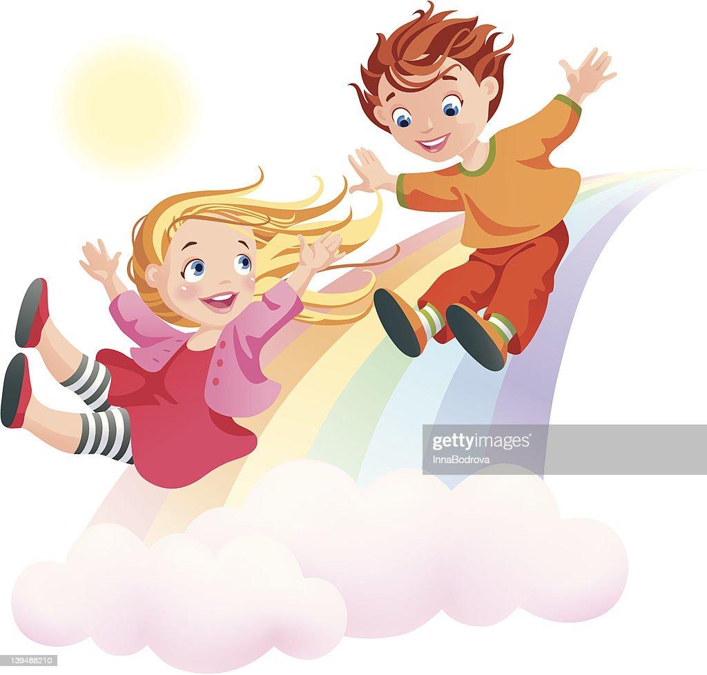 Children's Day. Children and rainbow.