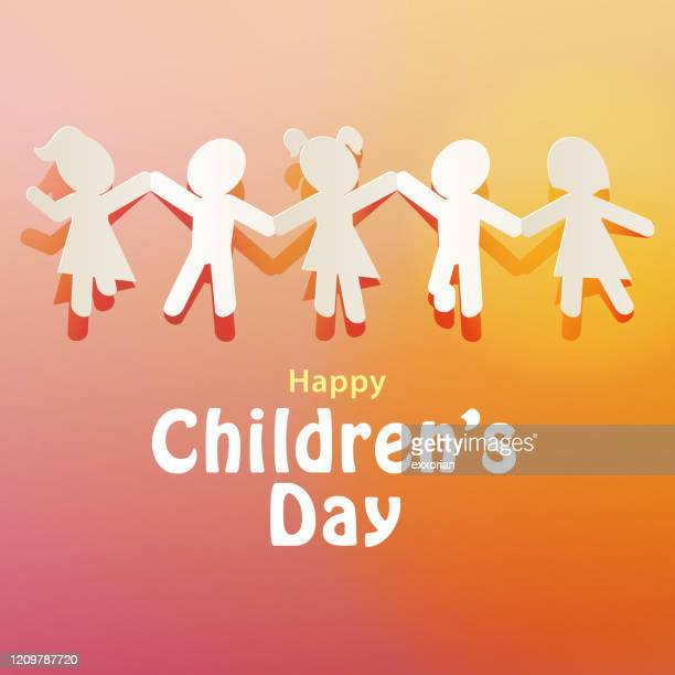 children's day paper chain - paper craft stock illustrations
