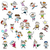 Childrens drawings of doodle people