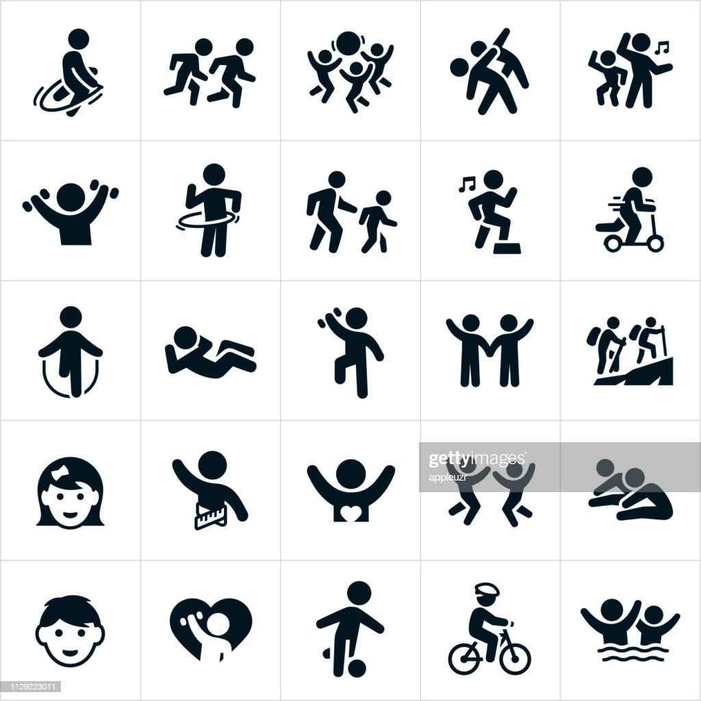 Children's Fitness Icons : stock illustration