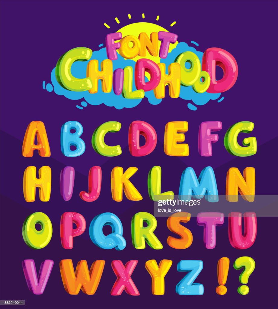 Children's font in the cartoon style of 'childhood.'