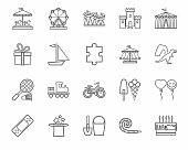 Children's games and entertainment, icons, gray, linear, vector.