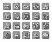Children's games and entertainment, icons, grey, flat, line, vector.